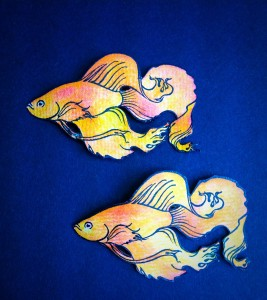 I stamped the fish on watercolour paper and cut them out.
